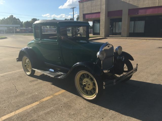 1929 ford model a 2 door green coupe for 1929 model a 2 door sedan