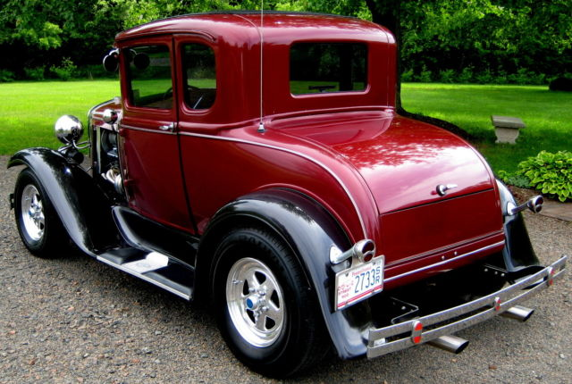1930 5 window coupe resto mod chevy v 8 auto wine red for 1930 ford 3 window coupe