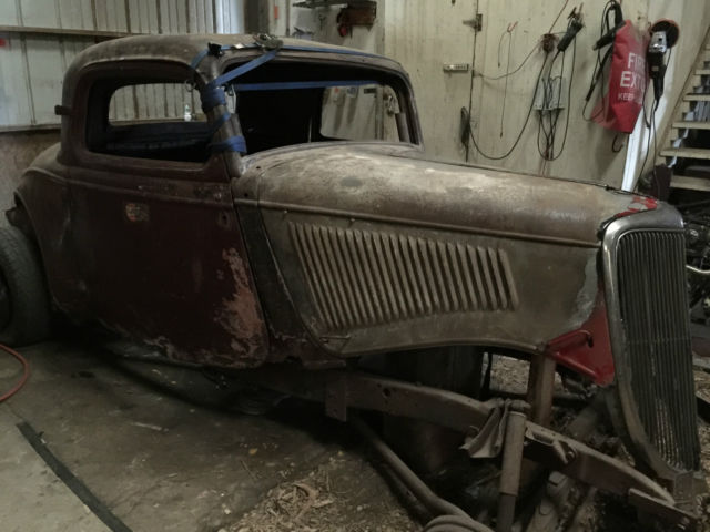 1934 ford 3 window coupe roller original henry steel 3w for 1932 ford 3 window coupe steel body