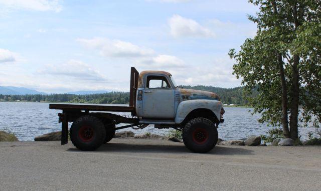 "Used Cars Idaho Falls >> 1954 chevy c-10 cab 4x4 rat rod sbc auto 42"" Iroks flatbed pickup truck NO RESRV"