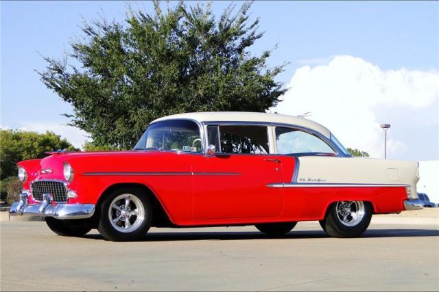 1955 chevrolet bel air custom 2 door sedan red ivory for 1955 chevy 2 door sedan