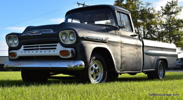 1959 Chevrolet Apache 32 Long Bed Fleetside Big Window Truck Rat Rod
