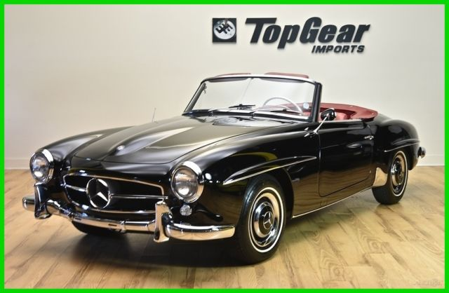 1962 mercedes benz 190sl roadster black with red leather. Black Bedroom Furniture Sets. Home Design Ideas