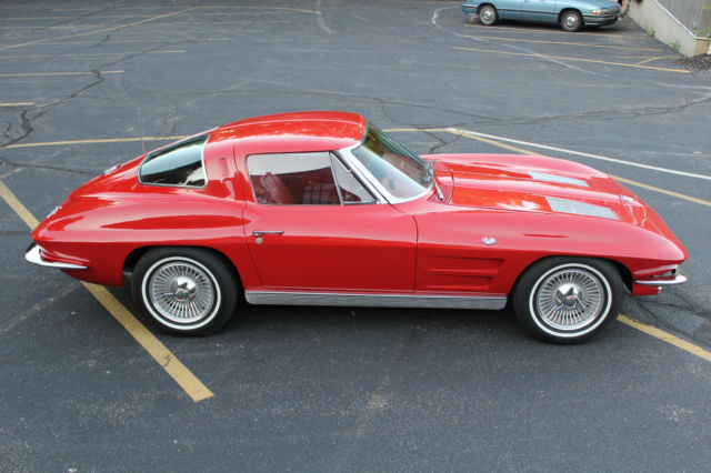 1963 corvette split window coupe red with red interior for 1963 corvette stingray split window coupe value