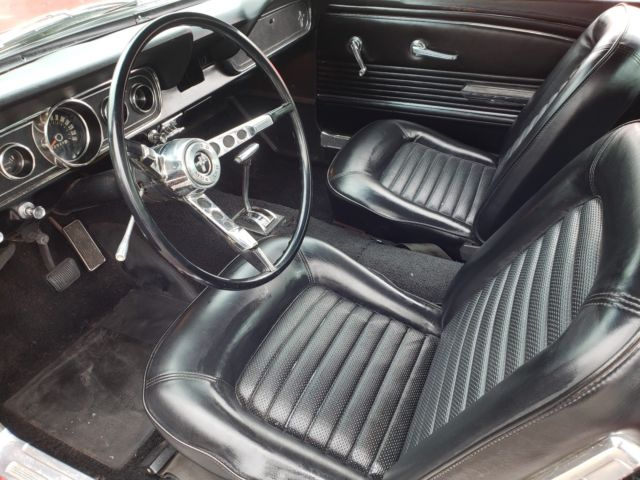 1966 ford mustang 2 2 fastback automatic bright red with nice black interior. Black Bedroom Furniture Sets. Home Design Ideas