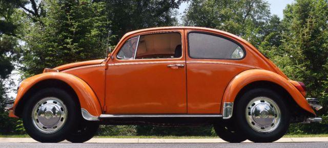 1970 70 Volkswagen VW Classic Beetle Orange Manual Low Milage