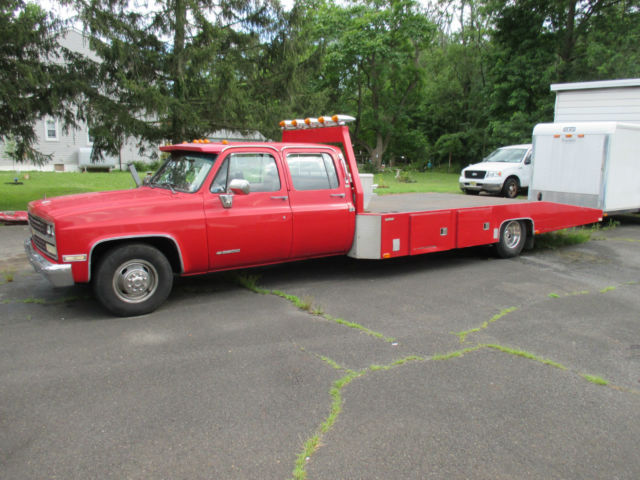 1989 Chevrolet 3500 Crew Cab Silverado Ramp Truck Flatbed