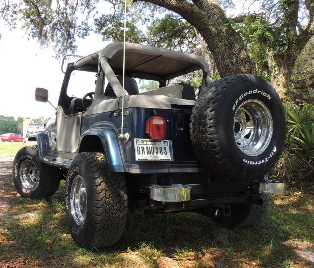 1990 Blue Jeep Wrangler Laredo, 4.2L Engine, 5-Speed Manual