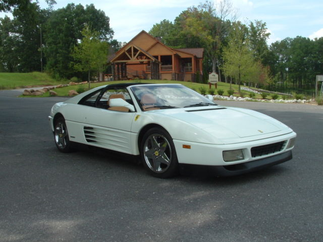 1991 ferrari 348 ts excellent rare color white tan. Black Bedroom Furniture Sets. Home Design Ideas
