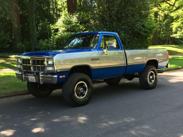 dodge 1992 cummins ram gen w250 diesel 4x4 manual 2500 speed 160k miles w350 9l valve pickup silver cab cars