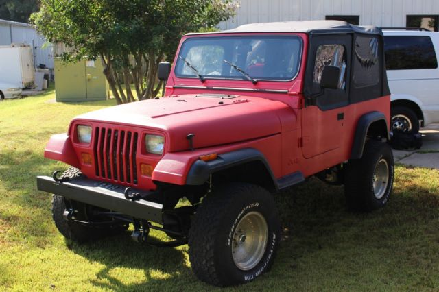 1992 Jeep Wrangler Manual Trans W Red Bed Liner And Black Trim 77221 Mi