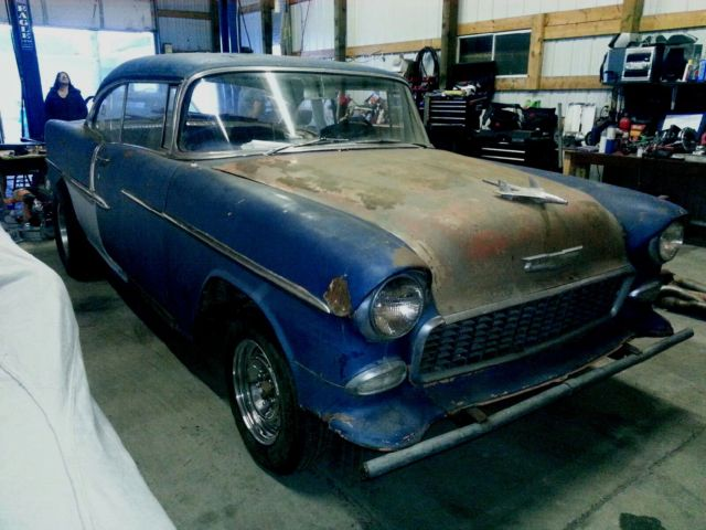 55 chevy bel air 2 dr hardtop hot rod project gasser rat rod drag race car. Black Bedroom Furniture Sets. Home Design Ideas