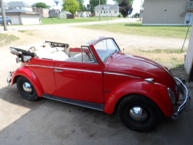 vw beetle bug convertible project parts car with title 6 volt 1200 cc. Black Bedroom Furniture Sets. Home Design Ideas